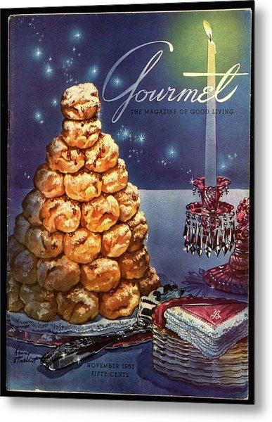 Gourmet Cover Illustration Of Croquembouche Metal Print