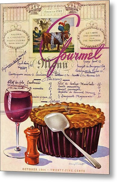 Gourmet Cover Illustration Of Deep Dish Pie Metal Print