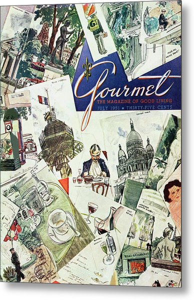 Gourmet Cover Illustration Of Drawings Portraying Metal Print