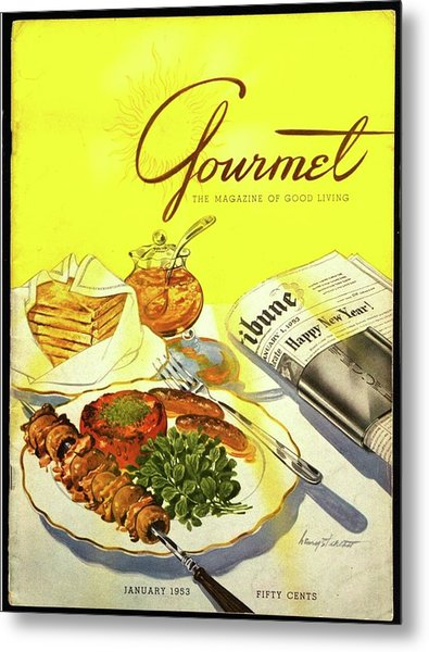 Gourmet Cover Illustration Of Grilled Breakfast Metal Print