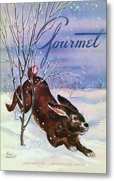 Gourmet Cover Of A Rabbit On Snow Metal Print