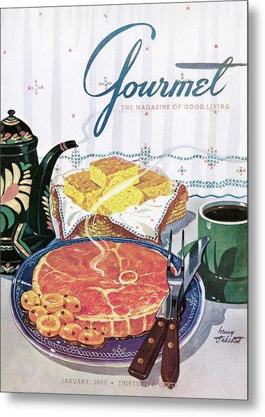 Gourmet Cover Of Ham And Cornbread Metal Print