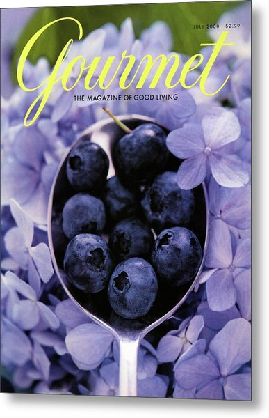 Gourmet Magazine Cover Blueberries On Silver Spoon Metal Print