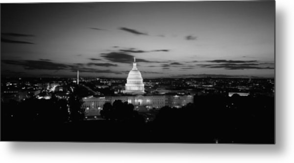 Government Building Lit Up At Night, Us Metal Print