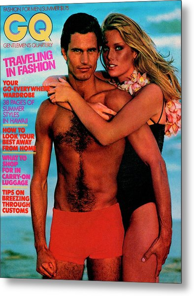 Gq Cover Featuring Patti Hansen And A Male Model Metal Print by Barry McKinley