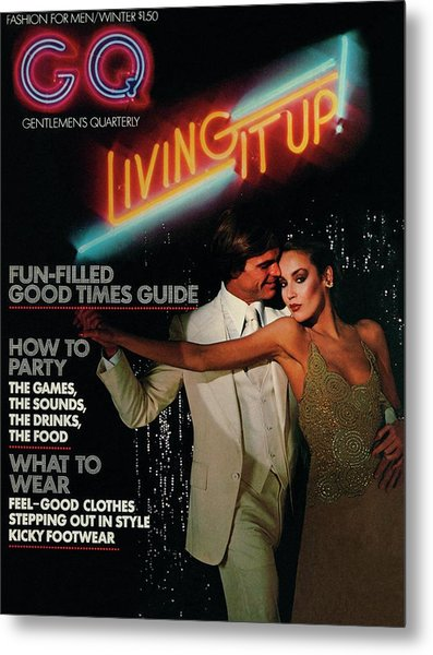 Gq Cover Of A Couple In Disco Setting Metal Print by Chris Von Wangenheim
