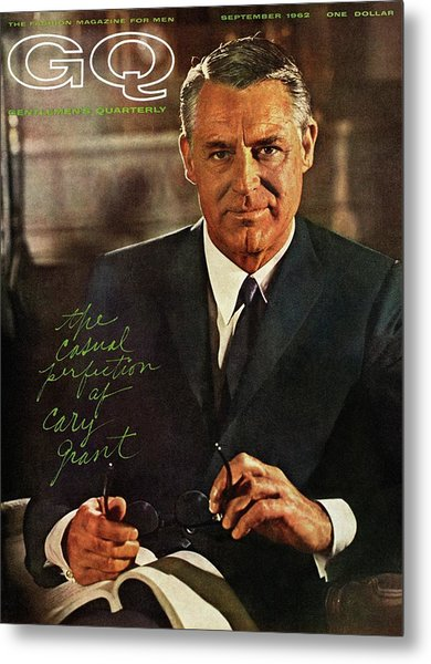 Gq Cover Of Actor Carey Grant Wearing Suit Metal Print