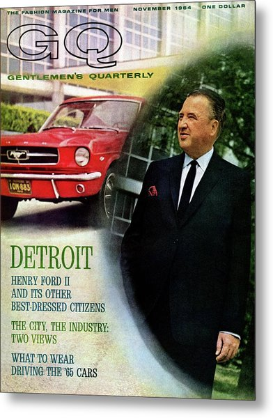Gq Cover Of Henry Ford II And 1965 Ford Mustang Metal Print by Richard Nones