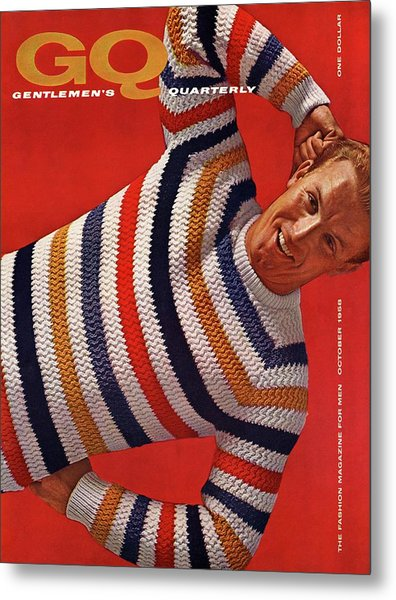 Gq Cover Of Man Wearing Striped Sweater Metal Print by Leonard Nones