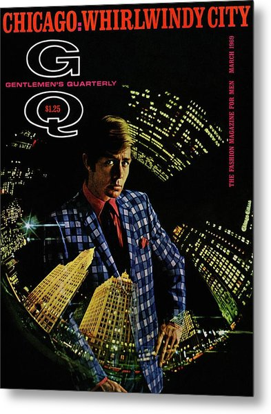 Gq Cover Of Model Wearing A Louis Roth Jacket Metal Print by Leonard Nones