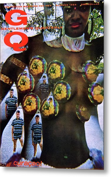 Gq Cover Of Polynesian Dancer Inset With Male Metal Print