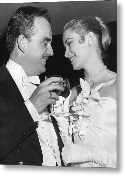 Grace Kelly Toasts With Husband Metal Print