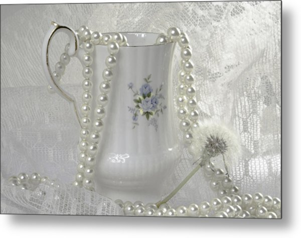 Graceful White Metal Print