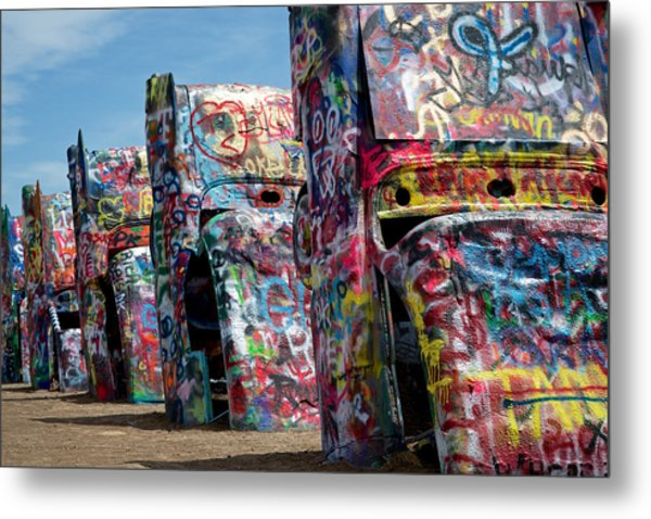 Metal Print featuring the photograph Graffiti At The Cadillac Ranch Amarillo Texas by Mary Lee Dereske