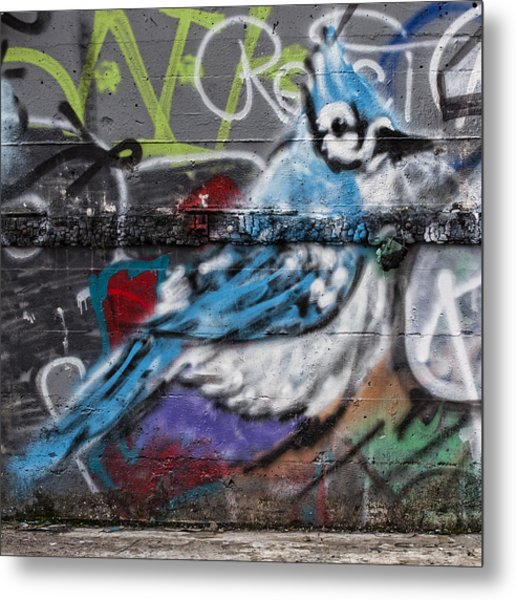 Graffiti Bluejay Metal Print