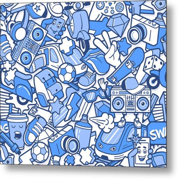 Graffiti Seamless Pattern With Boys Metal Print