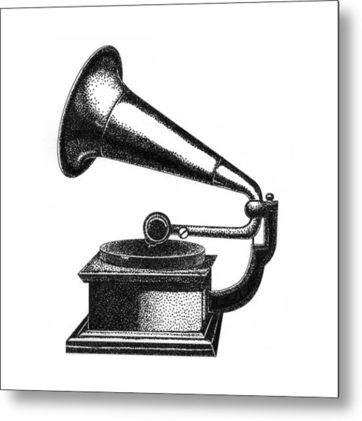 Gramophone Metal Print by Christy Beckwith