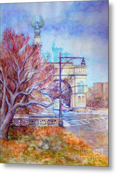 Grand Army Plaza With Lamppost And Tree Metal Print