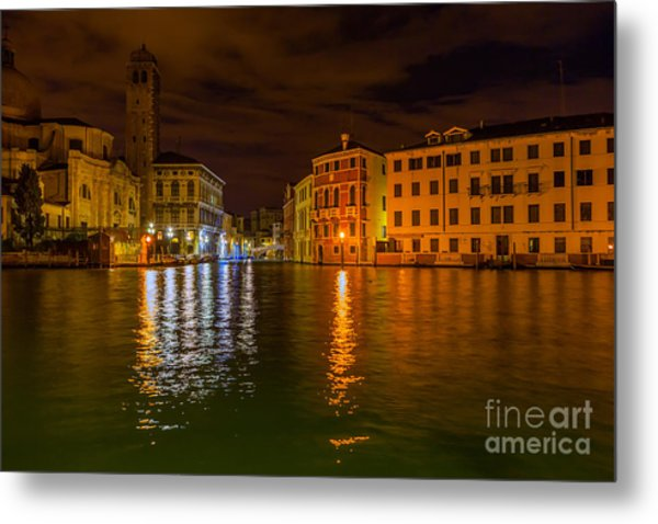 Grand Canal In Venice At Night Metal Print