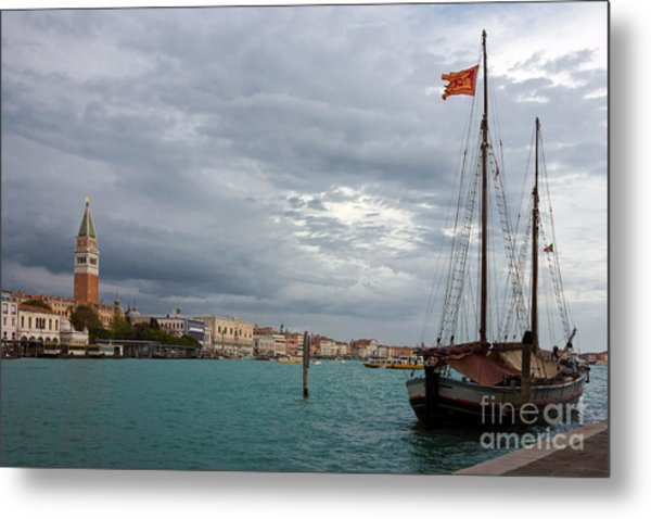 Grand Canal Panoramic View Of St. Mark's Square In Venice Metal Print