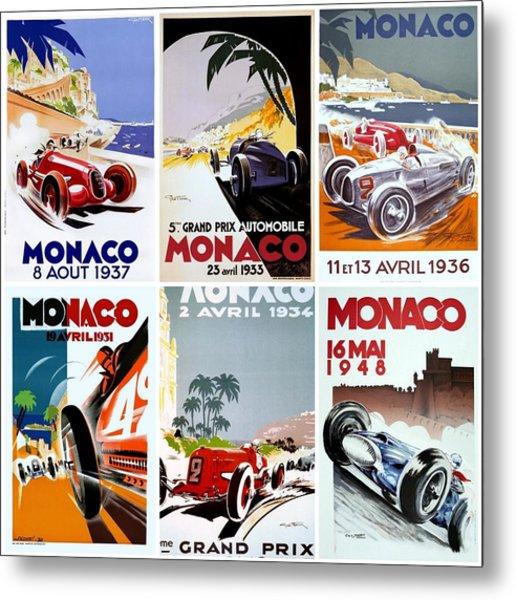 Grand Prix Of Monaco Vintage Poster Collage Metal Print