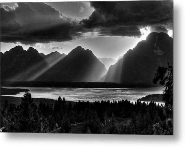 Grand Teton Light Beams Metal Print