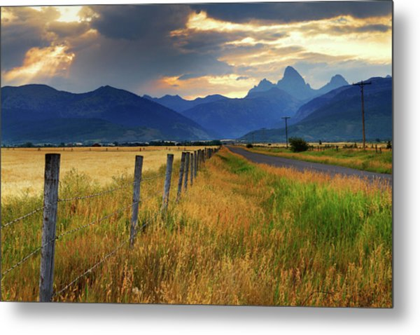Grand Tetons At Sunrise From Driggs Metal Print by Anna Gorin