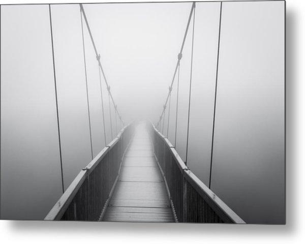 Grandfather Mountain Heavy Fog - Bridge To Nowhere Metal Print