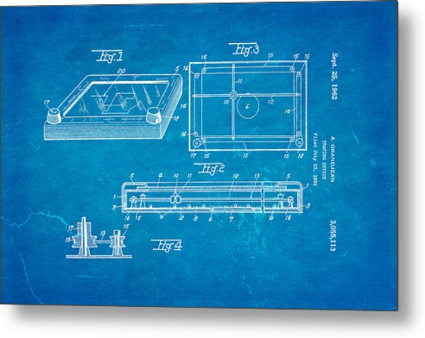 Grandjean Etch A Sketch Patent Art 1962 Blueprint Metal Print