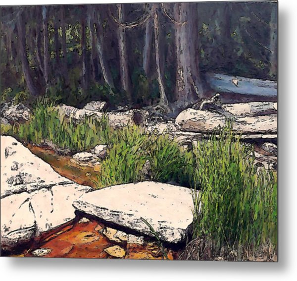 Granite On Beach Metal Print