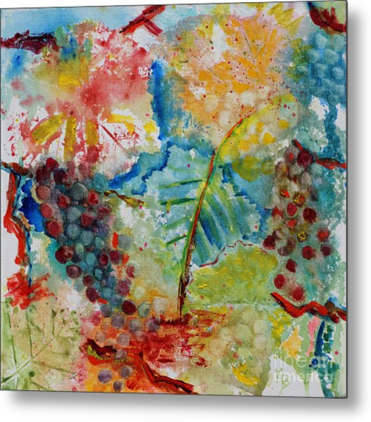 Metal Print featuring the painting Grape Abstraction by Karen Fleschler