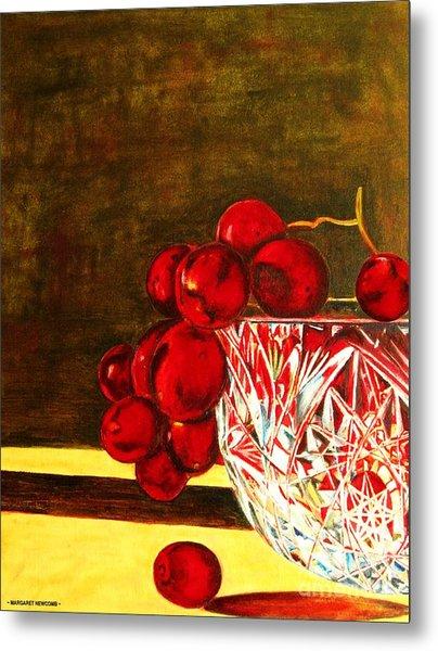 Grapes In A Crystal Bowl Metal Print