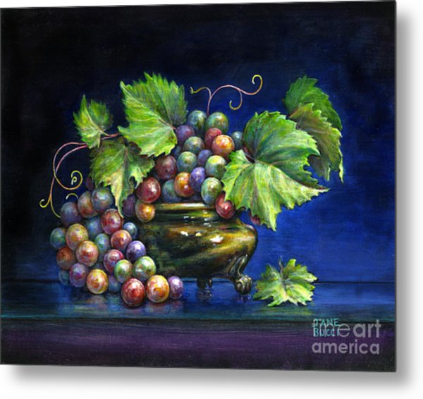 Grapes In A Footed Bowl Metal Print