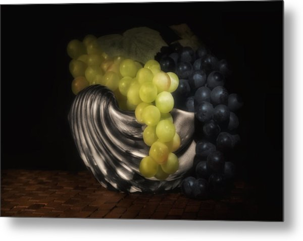 Grapes In Silver Seashell Still Life Metal Print