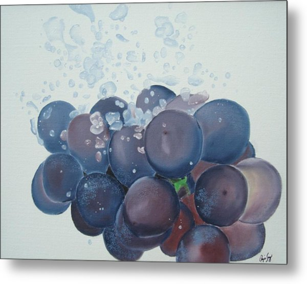 Grapes In Water Metal Print by Angela Melendez