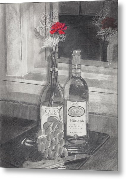 Grapes N Flowers Metal Print