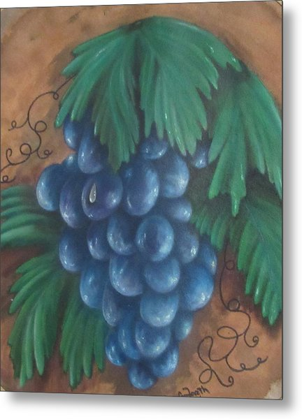 Grapes With Dewdrop Metal Print