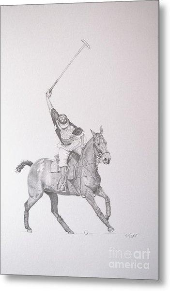 Graphite Drawing - Shooting For The Polo Goal Metal Print