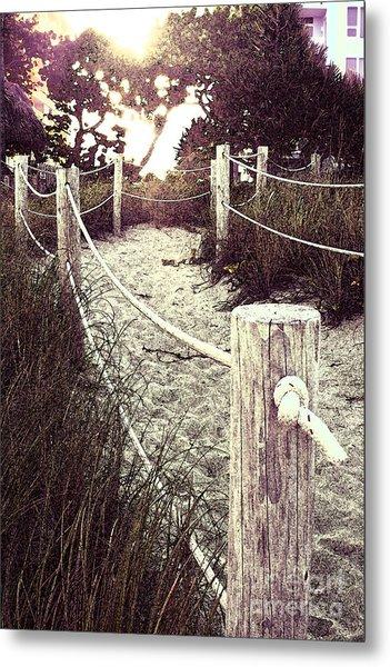 Grassy Beach Post Entrance At Sunset Metal Print