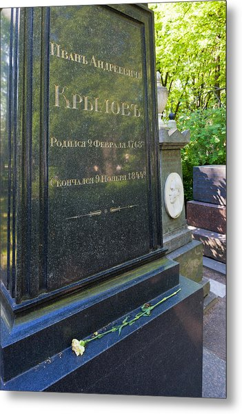 Grave Of Ivan Krylov, Tikhvin Cemetery Metal Print