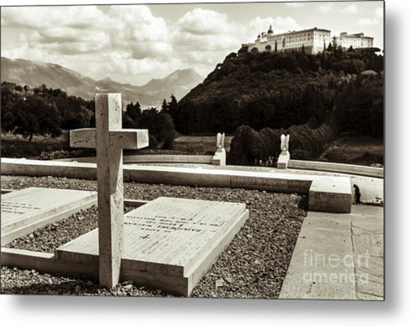 Gravestones In The Polish Cemetery Standing Proud Towards The Ab Metal Print