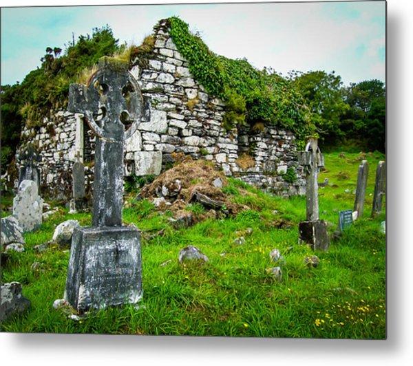 Graveyard And Church Ruins On Ireland's Mizen Peninsula Metal Print