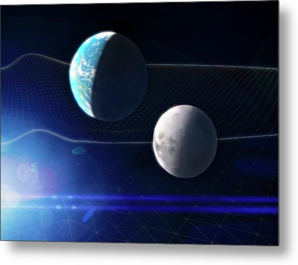 Gravitational Waves And Earth Metal Print by Ramon Andrade 3dciencia