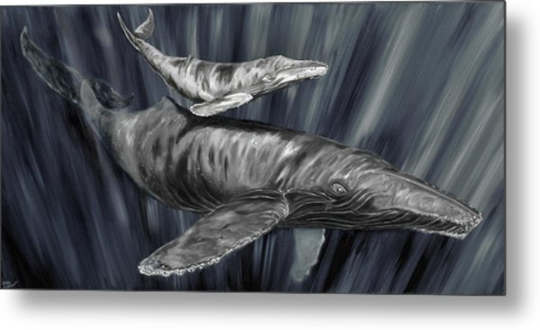 Metal Print featuring the painting Gray Whales by Steve Ozment