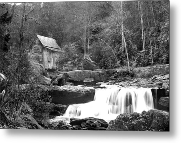 Grayscale Mill And Waterfall Metal Print