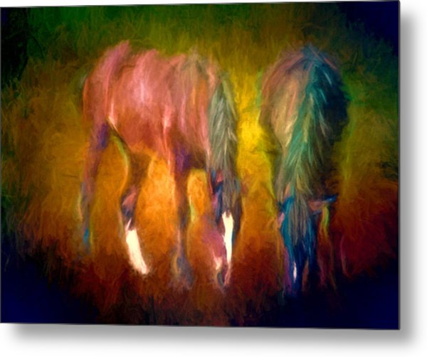 Grazing Horses Version 2 Textured Metal Print