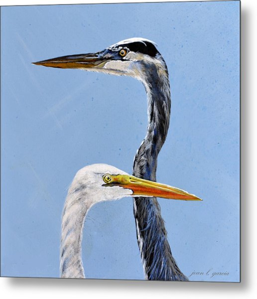 Great Blue And White Metal Print