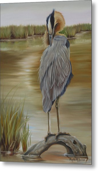 Great Blue Heron At Half Moon Island Metal Print