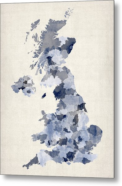 Great Britain Uk Watercolor Map Metal Print