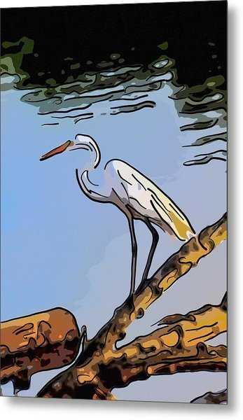 Great Egret Fishing Abstract Metal Print
